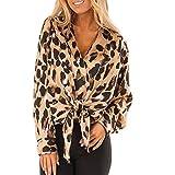 Linkay T Shirt Women's Long-Sleeved Blouse Tops Leopard Tops Fashion 2019 (Braun-A, Small)