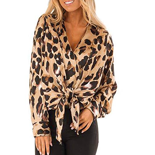 Linkay T Shirt Women's Long-Sleeved Blouse Tops Leopard Tops Fashion 2019 (Braun-A, X-Large)