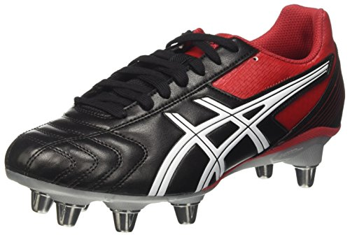 ASICS Lethal Tackle, Scarpe da Rugby Uomo, Multicolore (Black/Racing Red/White), 40 EU
