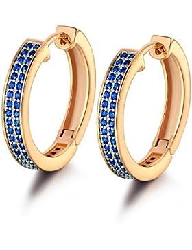 GULICX Vergoldet Saphir Farbe Ohrringe 18K Gold-Ton Blau Kristall Zirkonia CZ Creole