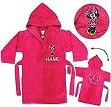 Unbekannt Frottee Bademantel - Disney Minnie Mouse - incl. Name - 5 bis 8 Jahre / Gr. 116 - 140 - 100 % Baumwolle - mit Kapuze - für Kinder / Mädchen - Mäuse / Play..