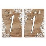 5 x Hochzeit Tischnummern individuell Menge Nummer Name wählbar 1-10 - Rustikal mit weißer Spitze