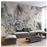 Papier PeintPersonnalisé Taille Classique Art Mural Plante Feuilles Rétro Salon Canapé Tv Fond Mur Peinture Fond D'Écran Pour Chambre Murs 3D, 250 * 175Cm