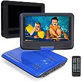 Pumpkin 9 Pouce Lecteur DVD Portable CD MP3 soutient USB SD avec Ecran Orientable 5 Heures Batterie Rechargeable Intégré 3m AC DC Adaptateur et Etui de Montage Appuie-tête Garantie de 18 mois (Bleu)