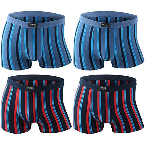 4er Pack Herren Retroshorts Boxershorts Pesail 2x türkisblau/dunkelblau/weiß 2x dunkelblau/rot/hellblau