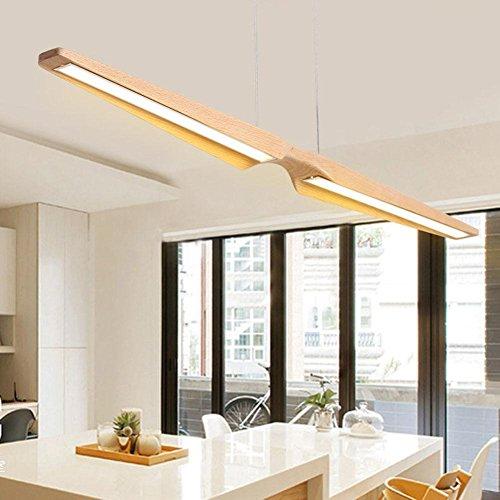 LLW-Minimalismus-hölzerne hängende Lampen-handgemachte hängende LED-Pendellampe für Esszimmer, Studie, Berufsbüro [Variable Lichtquelle] 40W (Hölzerne Lampe)