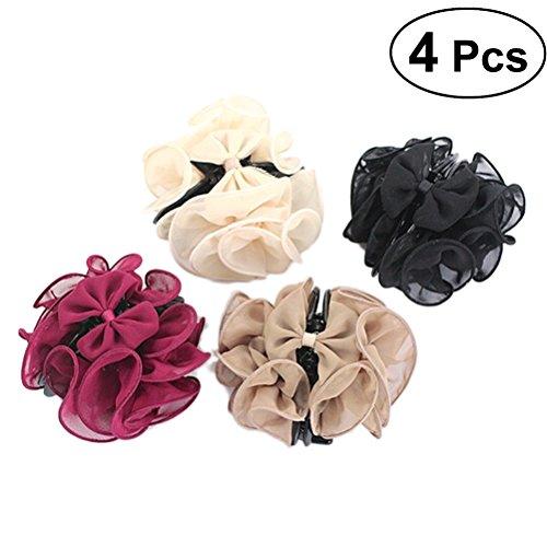 Frcolor 4 Stücke Große Haargreifer No-Slip Dicken Haarspange Silk Blume Bogen Haar Kieferklammern Rose Haarschellen für Frauen Damen Mädchen