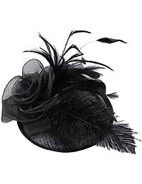 STRIR Sombrero Tocado Pelo Elegante Pluma Clip Hat Boda Coctel Malla Neto  Velo Diadema para Mujer c0bd634de68
