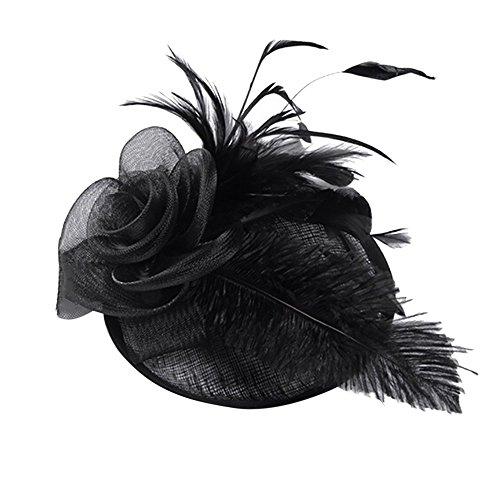 FRAUIT Damen/Herren Fascinator Braut Patei Kopfschmuck Schleier Feder Fascinator Mesh Hochzeit Haar Clip Hut Stirnband Haarclip Hairpin Haarband für Party Kirche Hochzeit -