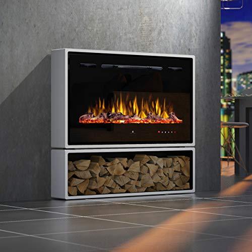 Noble Flame Miami Standkamin Elektro-Kamin - Elektroeinsatz Paris 920 - LED Flammeneffekt -Dekoholz Gluteffekt - mit Touch-Panel/Fernbedienung -