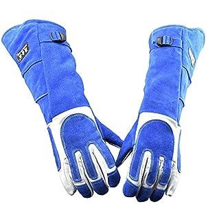 Manches longues gants de protection pour animaux Style long Couleur bleue Manipulation des animaux Gants de toilettage Morsure en cuir Rembourrage pour chien Chien Chat Éraflures Manipulation des oise