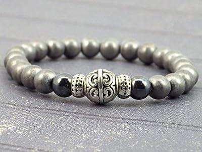 Bracelet pour hommes en perles d'hématite noires et grises et perles tibétaines