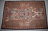 Tribal Asian Textiles Handwerk indische Handarbeit bestickte Patchwork alte Wandkunst Vintage Wandteppich Old Sari Cutting Wall Hanging Parda 03