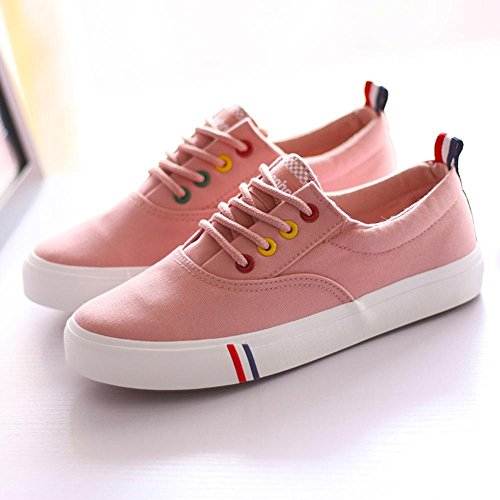 Heart&M Solid Color Low Top Flache Frauen Bottom Lace-Up Segeltuch-beiläufige Sport Skate-Schuh-Turnschuhe bright pink