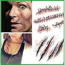 RMCtrends® - Pack de 5 láminas - Tatuajes temporales con motivos de Halloween - Heridas de Zombie, cicatrices y puntos de sutura