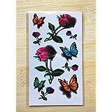 GYMNLJY Etiquetas engomadas del tatuaje Moda cuerpo impermeable pintura 3D mariposa Rose Tattoo tatuajes temporales calcomanías (paquete de 20 hojas) , 10.5*6cm