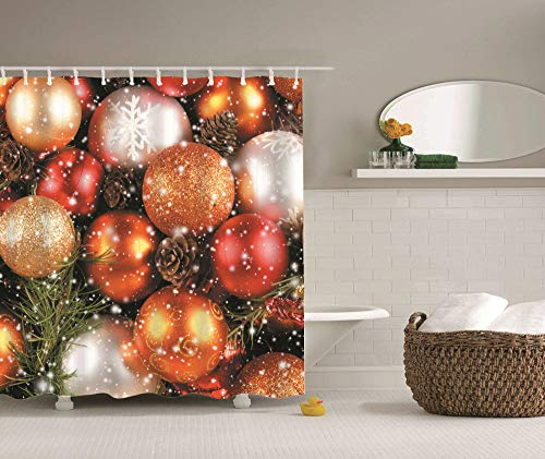 dsgrdhrty Rote gelbe weiße Weihnachtskugel und grüne Blätter braune Blumen Wasserdichter Badvorhang antibakteriell tragbar und waschbar