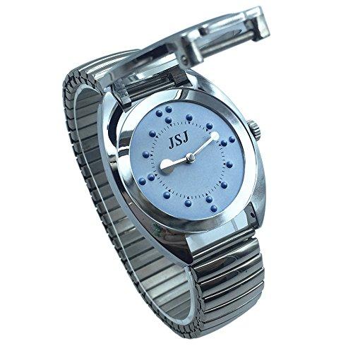 Reloj De Pulsera Braille para Invidentes o Personas Mayores Azul Dial, Banda Expandible Acero