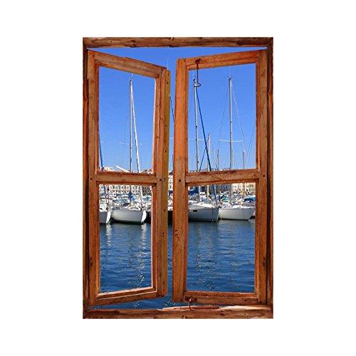 Tatoutex adesivi trompe l' oeil finestra porta di diporto, l 100cm x h 150cm