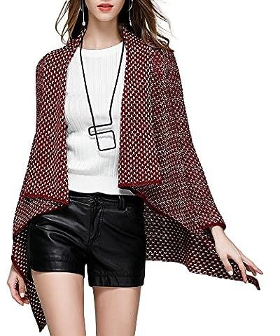 Damen Asymmetrisch Strickjacke Cardigan Stolen Lang Strickmantel Vintage Oversize Form Mantel Parka Umhang