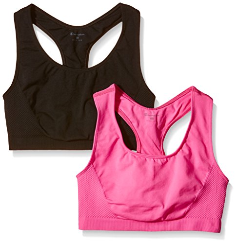 Champion 2pp Seamless Brassière de sport femme New Black/Pink Bubble Fluo