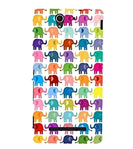MULTICOLOURED ELEPHANT PATTERNS FOR KIDS IN A WHITE BACKGROUND 3D Hard Polycarbonate Designer Back Case Cover for Sony Xperia C3 Dual D2502 :: Sony Xperia C3 D2533