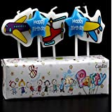 PartySanthe Aeroplane Airplane Candles & Star Sign Cake Decoration Cake Topper Theme Happy Birthday Candle/Birthday Theme/Party Supplies/All Cartoons Charather Sky Airoplane- Theme Candle(Set Of 5)