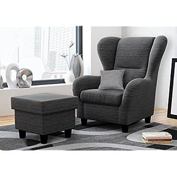 Ohrensessel mit Hocker grau im Landhausstil | Der perfekte Sessel ...