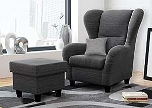 ohrensessel mit hocker grau im landhausstil der perfekte sessel f r entspannte lange fernseh. Black Bedroom Furniture Sets. Home Design Ideas