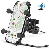 Soporte Movil Moto Universal Rotación de 360°con Cargador del USB, Soporte de Teléfono Anti Vibraciónpara Motocicleta Compatible para iPhone 11, X, SE, Pro, Samsung, GPS ATV Scooter