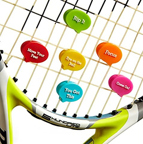 Tennis Vibration Dampener in Fun Zipper Pouch. Best Racket Shock Absorber (Pack of 6) plus 2 Bonuses. Fits Also Squash Raquet