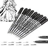 9pz Art pennarello diversi tipi Pigment Liner nero a base d' acqua schizzo spazzola pennarelli per disegno scrittura a mano forniture cancelleria