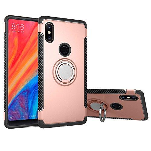 Funda Xiaomi Mi Mix 2s, LAGUI Doble Capa Carcasa Con Anilla posterior, oporte de Montaje Magnético del Coche Cáscara Especial, rosa dorada