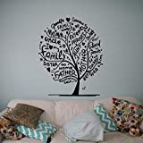 Modeganqingg Family Tree Wandtattoo Wall Language Vinyl Aufkleber Dekoration Home Interior Schwarz L...