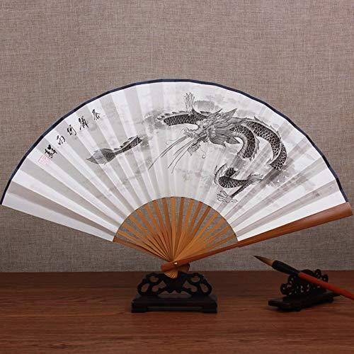 XIAOHAIZI Handfächer,Sommer Handgemalte Bambus Fan Tinte Malerei Drachen Retro Chinesischen Stil Männer Geschenk Faltfächer Für Zu Hause Wanddekoration (Chinesischer Papier Drachen Kostüm)