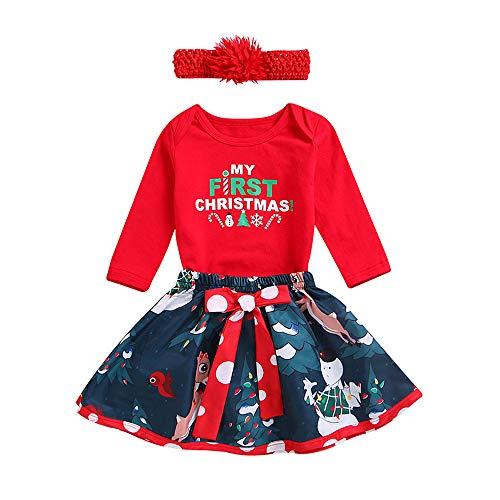 Baby Kostüm Deer - Baby Mädchen Junge Kleidung Baby-Weihnachtsbrief-Spielanzug Tops Deer Rock Kleidung Outfits Set