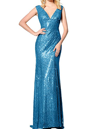 TOSKANA BRAUT Altrosa Sexy Neu V-Neck Meerjungfrau Paillette Abendkleider Lang Partykleider Promkleider Ballkleider Blau