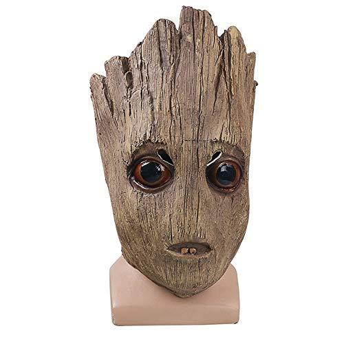 NDHSH Groot Little Tree Mann Maske Kostüm Halloween Maske Latex Kopf Cosplay Maskerade Weihnachtsfeier Parteien Gesichtsmaske,A-Head Circumference 55cm to 63cm