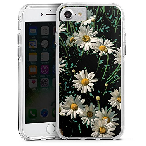 Apple iPhone 7 Bumper Hülle Bumper Case Glitzer Hülle Daisy Blume Flower Bumper Case transparent