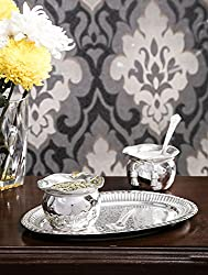 Royal Silver Plated Handi Bowl With Tray and Spoon Set Of 5 pcs.