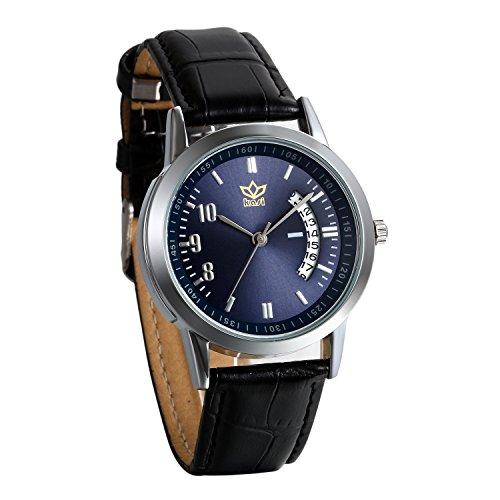JewelryWe Damen Herren Armbanduhr, kalender analog Quarz Uhr, mit Digital Blau Zifferblatt partneruhren, Leder, Legierung, Lieben Valentinstag Geschenk, Schwarz(2pcs)