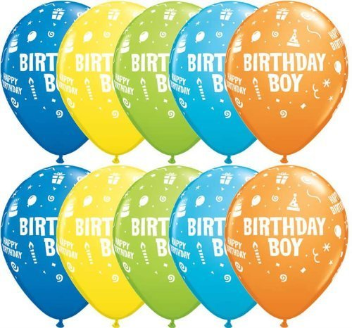 "Preisvergleich Produktbild 5 x Assorted, Birthday Boy, Cake, Candles, Hats & Steamers, Party Balloons - 11"" by Swoosh Supplies"