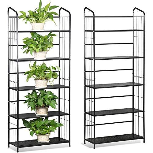 Yaheetech 2 Set Lagerregal Metall für Pflanzen, Blumentreppen mit 5 Böden, Pflanzenregal Garten...