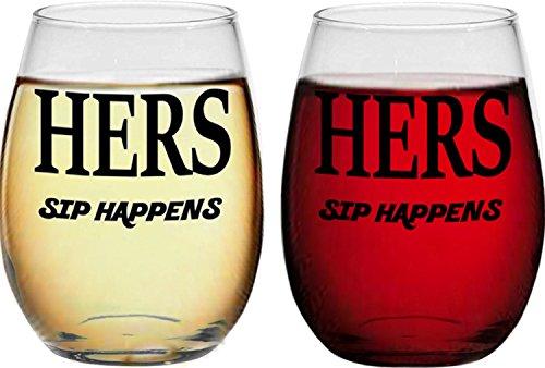 Hers and Hers, SIP Happens, Lesbian Couple Geschenke, ohne Stiel Wein Gläser, perfekt für Hochzeit, Jahrestag, Brautpaares, Gay und Einzugs Geschenke LGBT