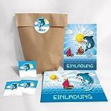 12-er Set Einladungskarten, Umschläge, Tüten, Aufkleber zum Kindergeburtstag für Jungen Mädchen Delfin (12 Karten + 12 Umschläge + 12 Party-Tüten (Kreuzbodenbeutel) + 12 Aufkleber)