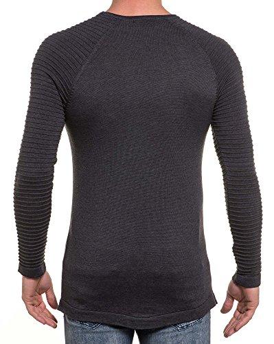 BLZ jeans - Pull homme fine maille gris anthracite nervuré oversize Gris
