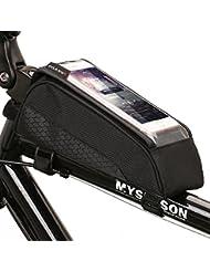 ONEU Fahrradtasche Oberrohr, Schnelle Installation & Release Tragbare Fahrradtasche, Touch Screen Handy Tasche für Fahrrad mit Wasserdichtem Material 1600D Nylon