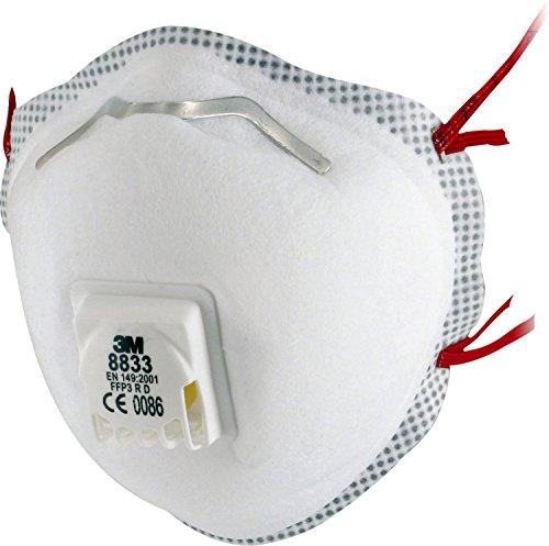 3M Atemschutzmaske 8833SV – Faltbare Partikelmaske mit Cool Flow Ausatemventil - für gesteigerten Tragekomfort – Maske mit Schutzstufe FFP3 – 10 Stück