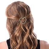 TININNA Damen 2 Stück Golden Herz Metall Haarspange Haarklammer Haarnadel Haarschmuck Kopfschmuck Haar Zubehör