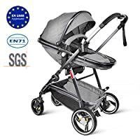 Besrey Pushchair Baby 2 in 1 Travel System Stroller Foldable and Convertible Buggy - Grey